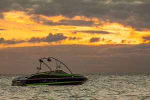 Mariah boats, wakeboat sunset